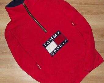 TOMMY HILFIGER sweatshirt vintage red shirt, 90s hip-hop clothing, 1990s hip hop shirt, Tommy big logo, og, gangsta rap, size L Large