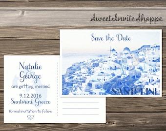 Santorini Save The Date Card, Destination Save The Date Postcard, Travel Postcard, Greek Wedding , Destination Invitation, Island Wedding