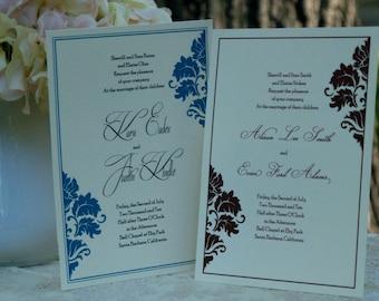 Linen Damask - Wedding Invitations