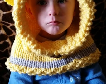 Sunshiney yellow Baby Bear cowl with Heather grey accent stripe & oversized coconut button.