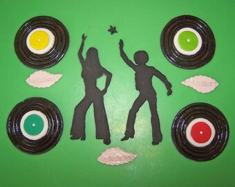 Pr. Silhouette Disco Dancers and 4 Vinyl LP Records Edible Fondant Cake or Cupcake Toppers