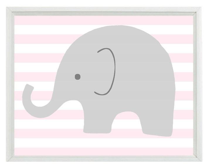 Elephant Nursery Wall Art Print Pink Gray White Decor