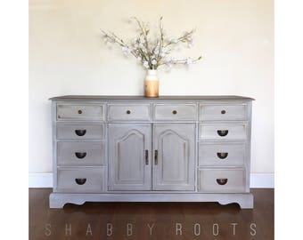 SOLD- Rustic Farmhouse Dresser Buffet- gray vintage console credenza grey and white washed - San Francisco, Bay Area