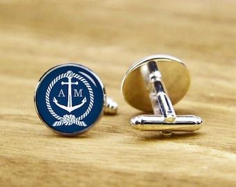 Nautical Theme Cufflinks, custom initials, anchor cuff, personalized cufflinks, custom wedding cufflinks, round, square cufflinks, tie bars