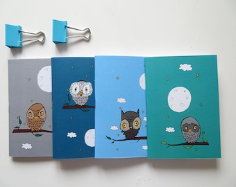 Owl Pocket size Notebooks - Pack of 4 Notebooks - Owl Collection - A6 - Blank Pages