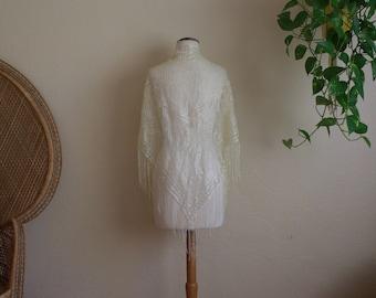 vintage cream lace fringe shawl Stevie nicks