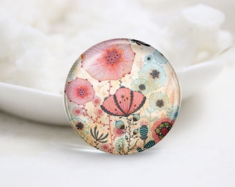 Handmade Round Floral Photo Glass Cabochons (P3513)
