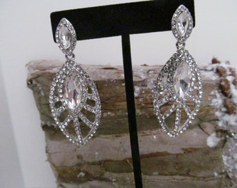 CZ earrings, cz cabochon earrings, cz dangle earrings, wedding earrings, pageant earrings,