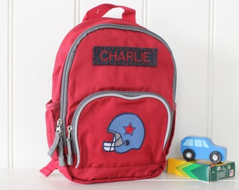 Personalized Toddler (Mini Size) Backpack Pottery Barn -- Red/Gray With Football Helmet Patch
