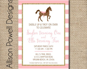 Pink and Gold Glitter Horse - Horseback Riding - Pony - Custom Printable DIY Invitation