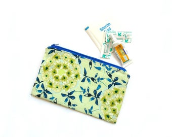 Makeup bag, small cosmetic bag, zipper pouch, ouch pouch, diaper bag organizer, pencil case, wildflower fabric, green blue