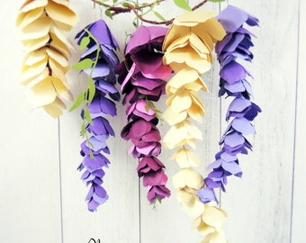 Hanging Wisteria Paper Flowers, DIY Wisteria Templates, Pattern & Tutorial, SVG cut files for Paper Flowers, Hanging Paper Flowers