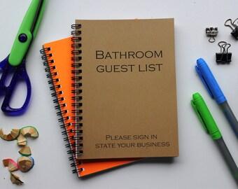 Bathroom Guest List - 5 x 7 journal