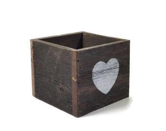 Make up Brush Holder - Heart Decor - Reclaimed wood Box - Valentines Day Decor - Centerpiece - Pencil holder