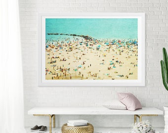 Large Beach Print // Large Scale Beach Photography // Aerial Beach Photography // Turquoise Teal Sand // Coney Island Beachscape