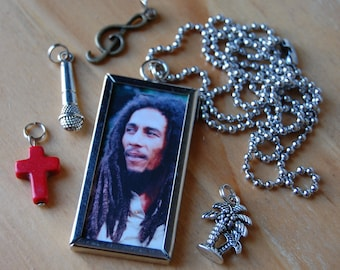 Bob Marley~ Double Sided Necklace with Charms