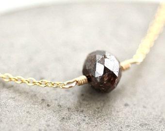 Brown Diamond Necklace, Natural 2 Carat Russet Brown Diamond 14k Gold Necklace Gold Diamond Jewelry - Sienna