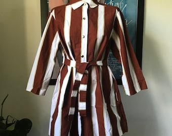 Vintage Marimekko Tunic or Short Dress /  White Brown Light Green Stripes / Size Large, fits Medium / 1977 Finland