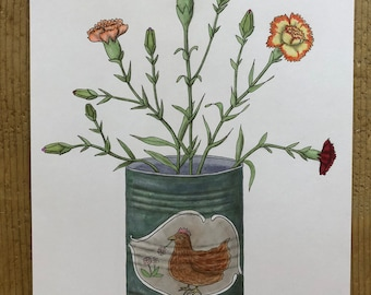 Original drawing, 'canned carnations'