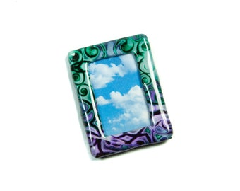 Polymer Clay Tiny Picture Frame, Boho Photo Frame, Bohemian Photo Frame, Baroque Picture Frame, Decorative Picture Frames, per one.