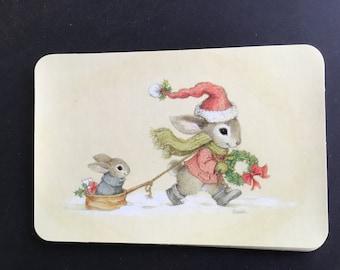 Vintage Christmas Postcards, bunnies in snow, Artist Frieda, Hallmark