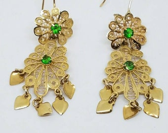 14k solid gold earrings with peridot