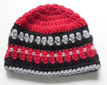 Crochet Red Beanie Hat - Red Black Gray Baby Hat - Crochet Baby Boy Hat - Crocheted Red Black Baby Boy Hat - 3 to 6 Months