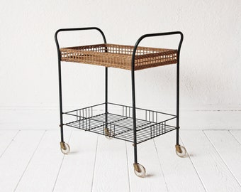 Mid Century Wicker and Wire Bar Cart