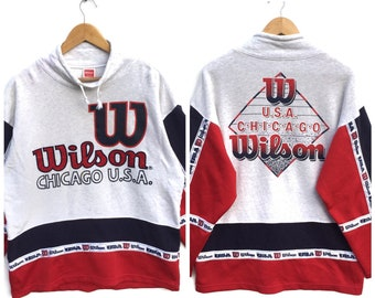 Wilson sweatshirt big logo embroidery spell out wilson Chicago multicolour Vintage 90's wilson sweat sweatshirt jumper size L