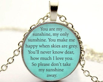 you are my sunshine pendant necklace inspirational necklace-with gift box