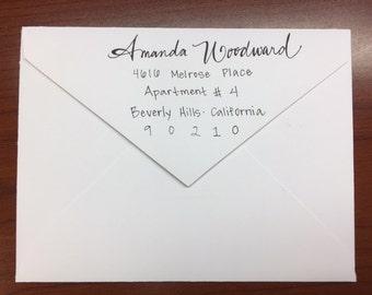 Hand Lettered Return Addressing