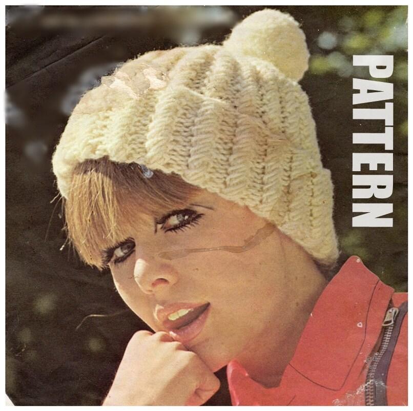 Ladies Hat Vintage Knitting Pattern Bobble Hat Knitted Pom