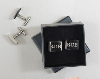 Graduation Gift for Him, New Job Gift, Personalized Polished Mens Cufflinks, College Graduation Gift for Men, Custom Mongram Cuff links