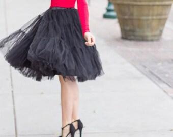 Black Tulle Skirt  Party Skirt  Midi Skirt  Handmade Plus Size Tulle Skirt Tiered Tulle Skirt Custom Design Princess skirt Wedding tutu