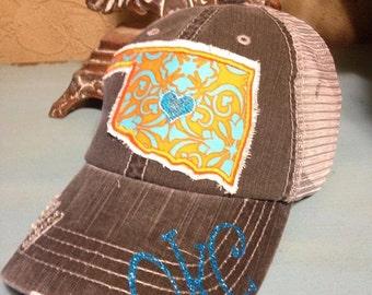 OKC Oklahoma City Thunder State Baseball Style Bling Ladies Womens Trucker Hat