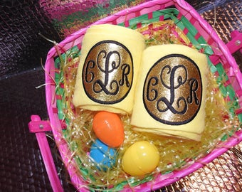 Glitter Monogram Polo Wraps - Yellow & Gold Easter Colors!