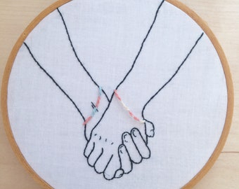 PDF Digital Download, Friendship bracelets and holding hands - embroidery pattern and tutorial