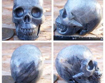 2.0 3.6oz 102.4g Picasso Jasper Skull Realistic Crystal Healing Magical Magick Metaphysical Mystic Reiki Wicca Large Grey Gray 2 inch SK1497