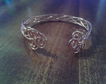 Celtic knotwork braided bangle bracelet in solid copper or silver plate