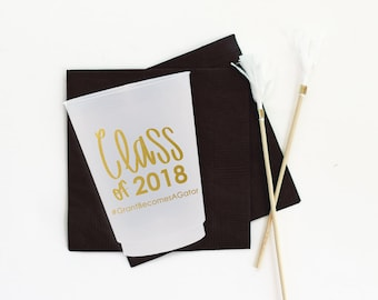 2018 Graduation Cups Graduation Party Decorations Personalized Grad Party Cups Custom Plastic Cups Class of 2018 Party Supplies Frosted Cups
