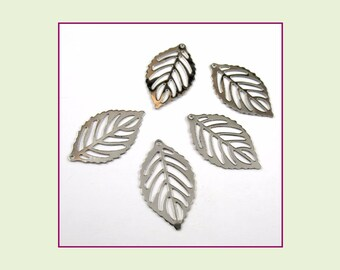 Stainless Steel Leaf Charm - Lot of 5