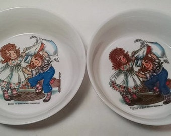 Raggedy Ann and Andy Plastic Cereal Bowls Kids Kitchenware Oneida Collectible Rag Doll Decor Plastic Kids Dish Baby Bowl Toddler Bowl