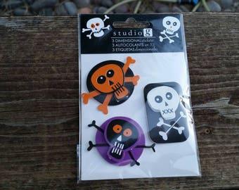Halloween dimensional stickers - adhesive backs scrapbook embellishment craft supplies, skull and bones - studio g