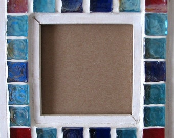 """Frame 6.5 """"X 6.5"""" original mosaic unique wood and glass red white blue art beautify"""