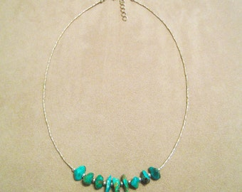 Turquoise and Silver Necklace --  Non Profit Fighting Childhood Obesity.Proceeds donated to Carter's Kids, Building Playgrounds in America