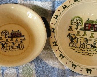 Two Vintage Metlock Homestead Provingial Poppytail Bowls/One Basket Weave
