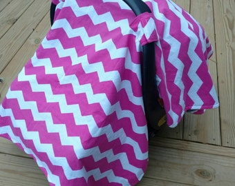 Pink Chevron Carseat Canopy- CarseatCover, Minky Canopy Baby Girl, Pink and Grey, Baby Shower Gift, Baby Accessories, Winter Carseat Canopy