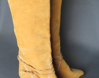 vintage 70s tan suede ZODIAC southwestern boots // braided ankle strap // cowgirl boots // boho // size 7