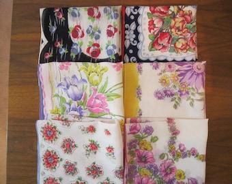Lot of Six Beautiful Floral Printed Handkerchiefs
