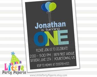 1st Birthday Invitation | First Birthday | Boy Birthday | Balloons | Blue and Green | Digital Invitation | Printable Invite | Design 15031